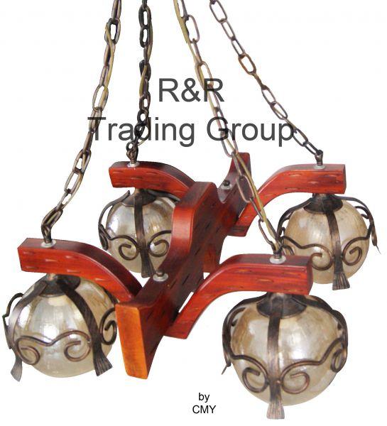 Lustra rustica, 4 brate, 4 becuri (metal + sticla)