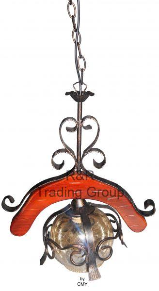 Lustra rustica din metal + sticla, suspendata